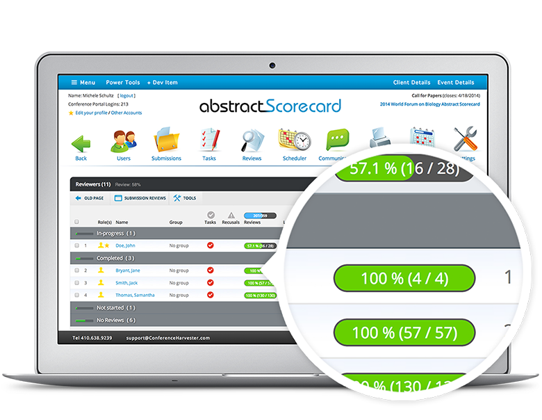 A dashboard gives your reviewers and administrators detailer statistics about abstracts, log ins, and reviews.